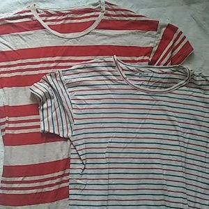 Two Madewell Striped 100% Cotton T-shirts
